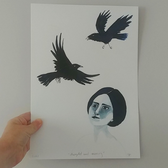 3/$30 - original drawing of girl with crows
